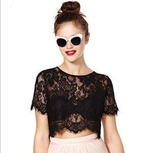 Nasty Gal Persuasion lace crop top